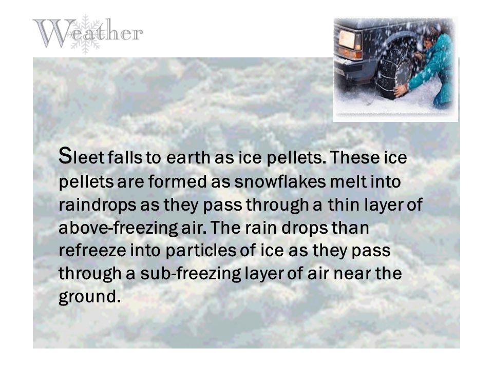 S leet falls to earth as ice pellets.