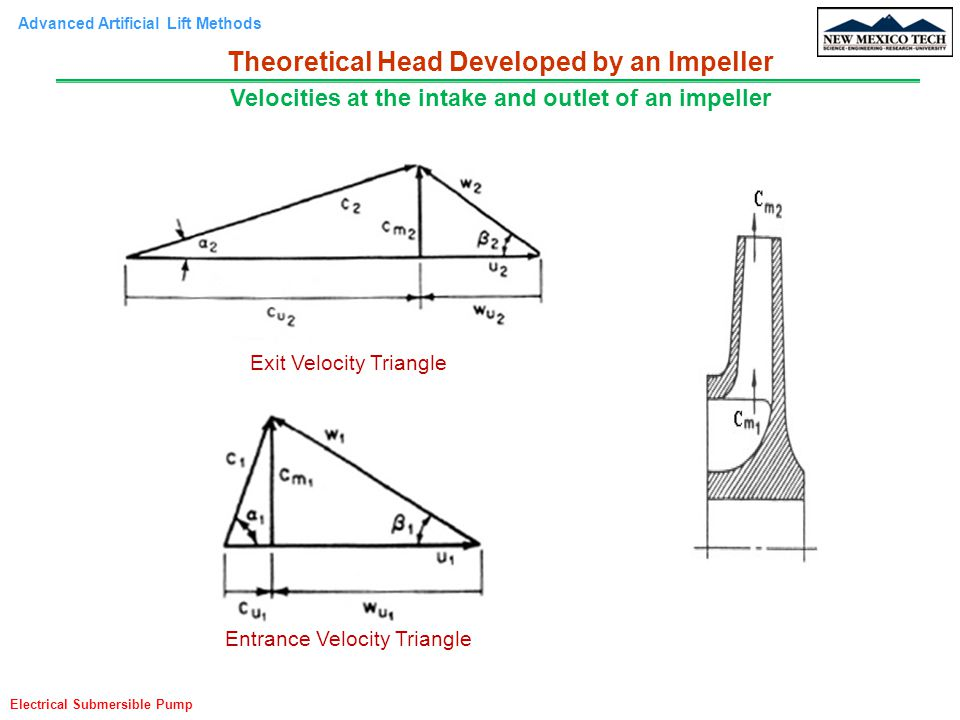 Advanced Artificial Lift Methods Electrical Submersible Pump Exit Velocity Triangle Entrance Velocity Triangle Theoretical Head Developed by an Impeller Velocities at the intake and outlet of an impeller