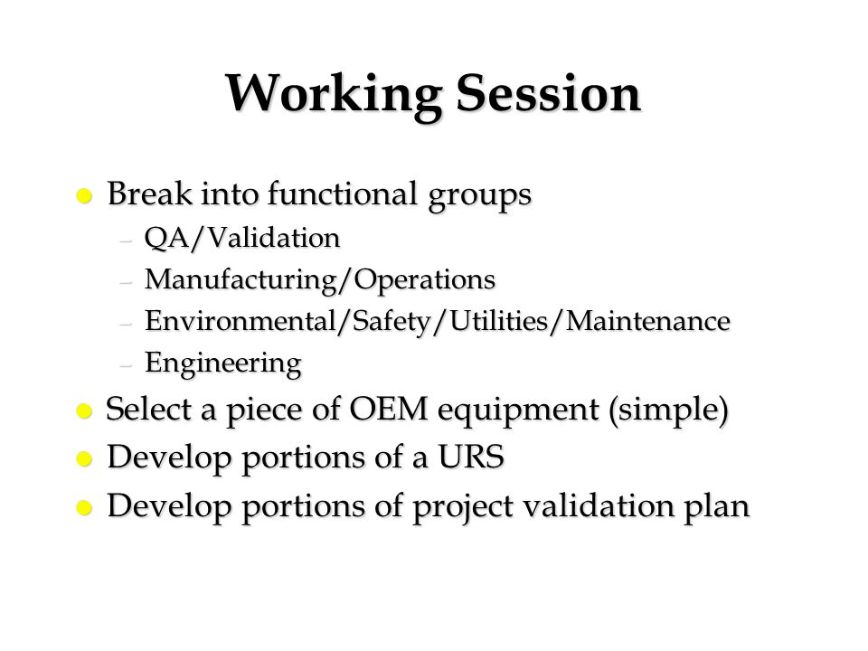 Working Session l Break into functional groups –QA/Validation –Manufacturing/Operations –Environmental/Safety/Utilities/Maintenance –Engineering l Sel