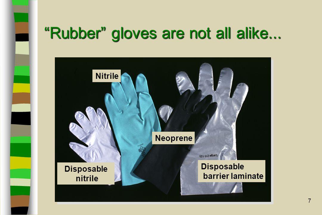 "7 ""Rubber"" gloves are not all alike... Disposable nitrile Nitrile Disposable barrier laminate Neoprene"