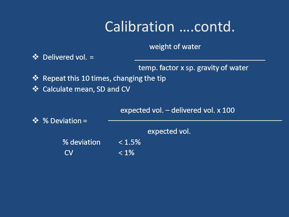 Calibration ….contd. weight of water  Delivered vol.= temp.