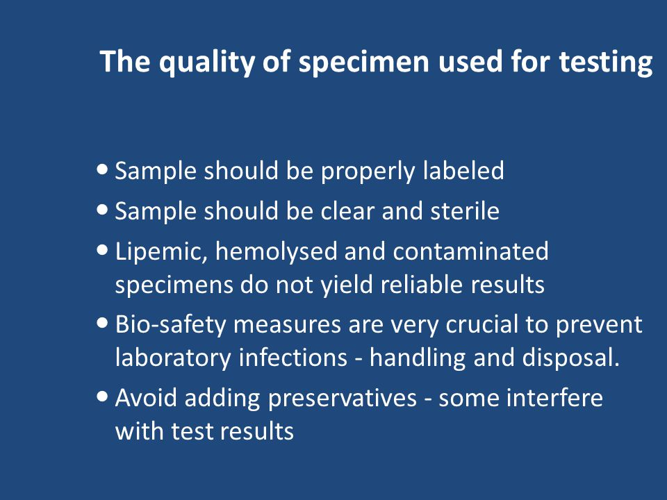 Quality of kits used for testing In general kits with highest sensitivity and specificity should be used in a BTS for TTI testing All kits and reagents should be used within the expiration date kits which are used should have approval of certifying authority (DCGI,NACO) Never interchange reagents from one kit to another or one lot to another