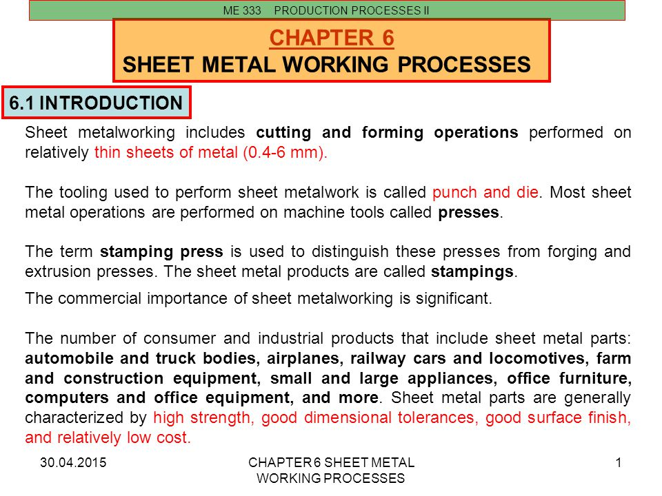 30.04.2015CHAPTER 6 SHEET METAL WORKING PROCESSES 1 CHAPTER 6 SHEET METAL WORKING PROCESSES 6.1 INTRODUCTION ME 333 PRODUCTION PROCESSES II Sheet meta