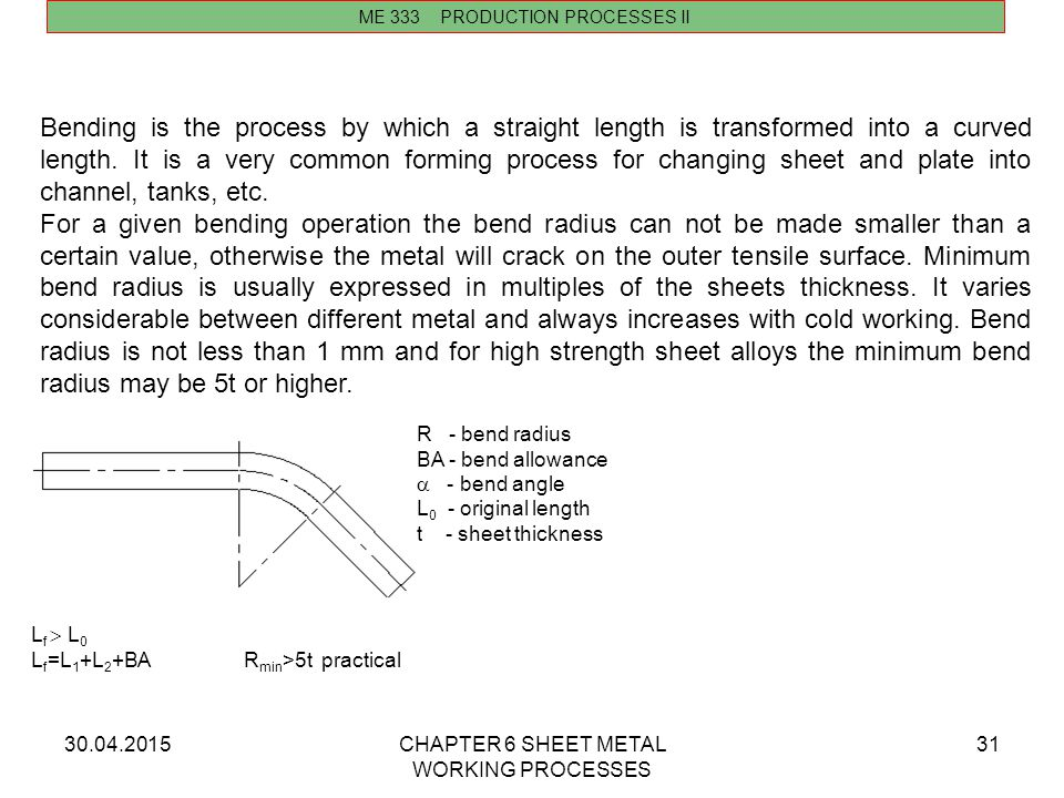 30.04.2015CHAPTER 6 SHEET METAL WORKING PROCESSES 31 Bending is the process by which a straight length is transformed into a curved length. It is a ve