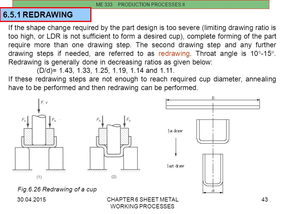 30.04.2015CHAPTER 6 SHEET METAL WORKING PROCESSES 43 ME 333 PRODUCTION PROCESSES II If the shape change required by the part design is too severe (lim