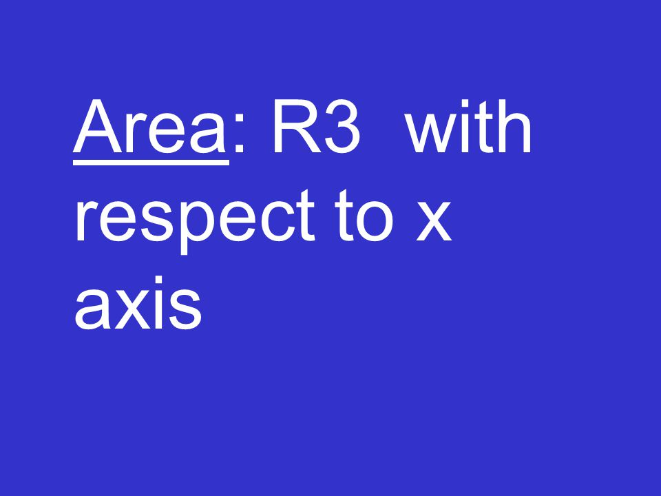 Area: R3 with respect to x axis