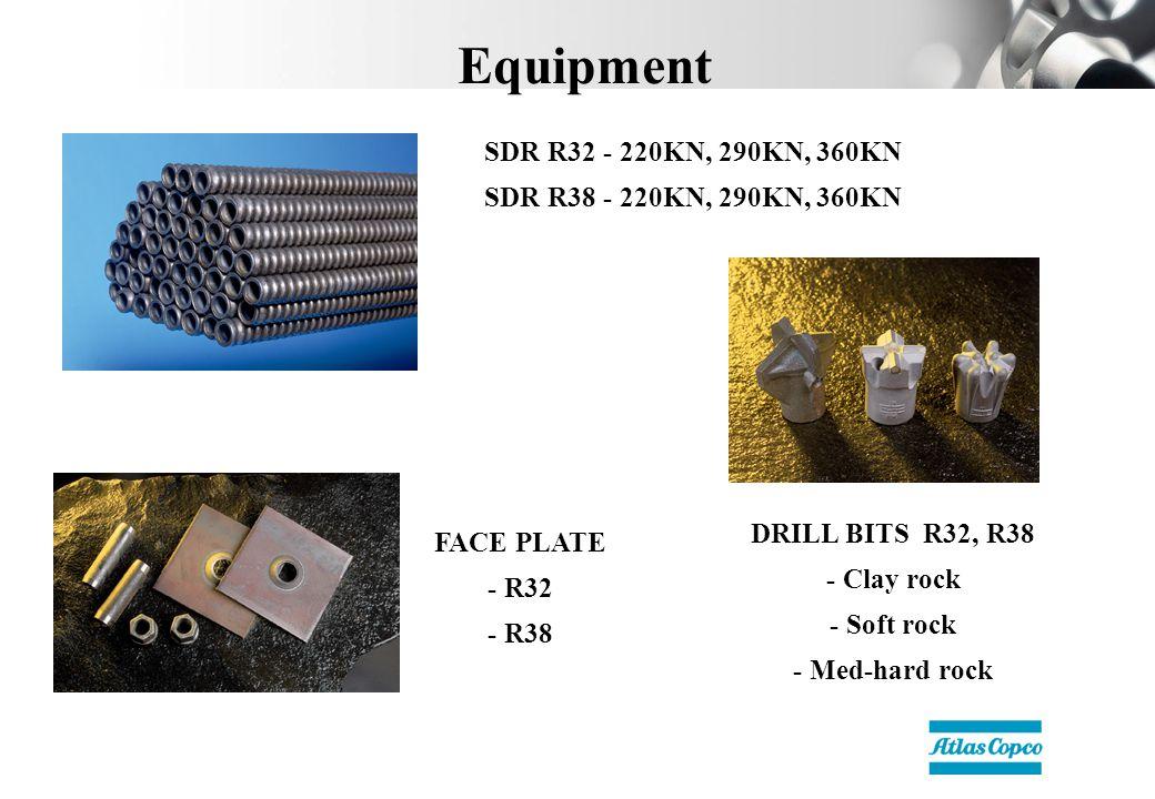 Equipment SDR R32 - 220KN, 290KN, 360KN SDR R38 - 220KN, 290KN, 360KN FACE PLATE - R32 - R38 DRILL BITS R32, R38 - Clay rock - Soft rock - Med-hard rock