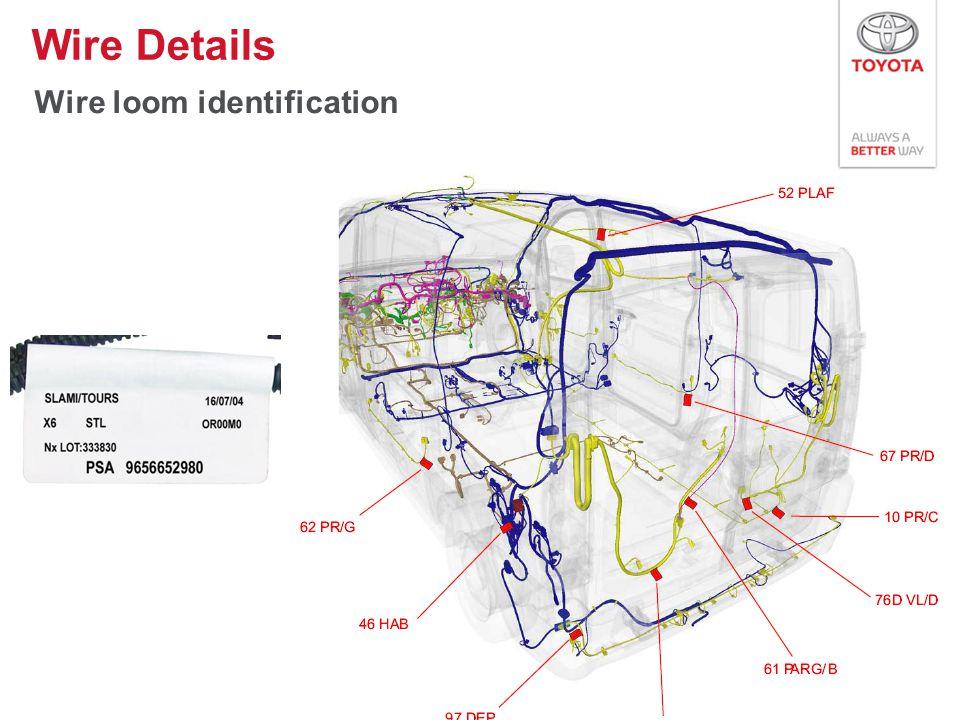Wire loom identification Wire Details 25