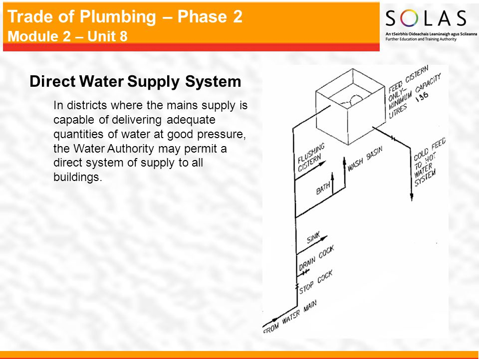 Trade of Plumbing – Phase 2 Module 2 – Unit 8 Direct Water Supply System In districts where the mains supply is capable of delivering adequate quantit
