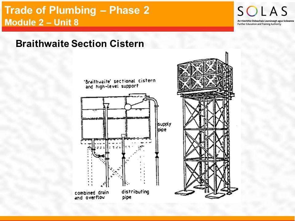 Trade of Plumbing – Phase 2 Module 2 – Unit 8 Braithwaite Section Cistern