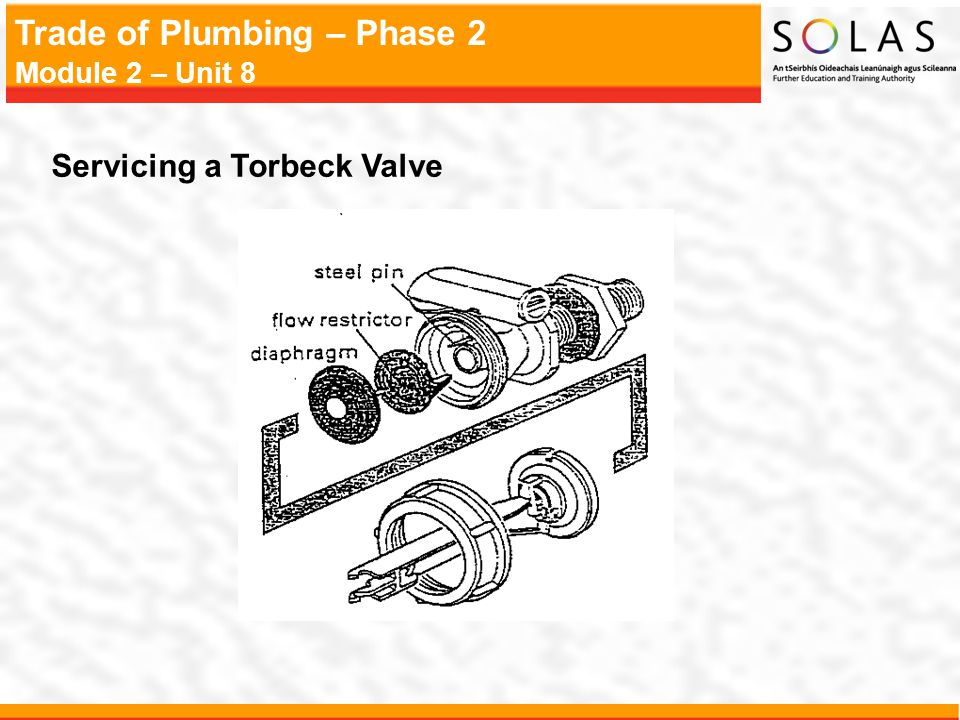 Trade of Plumbing – Phase 2 Module 2 – Unit 8 Servicing a Torbeck Valve