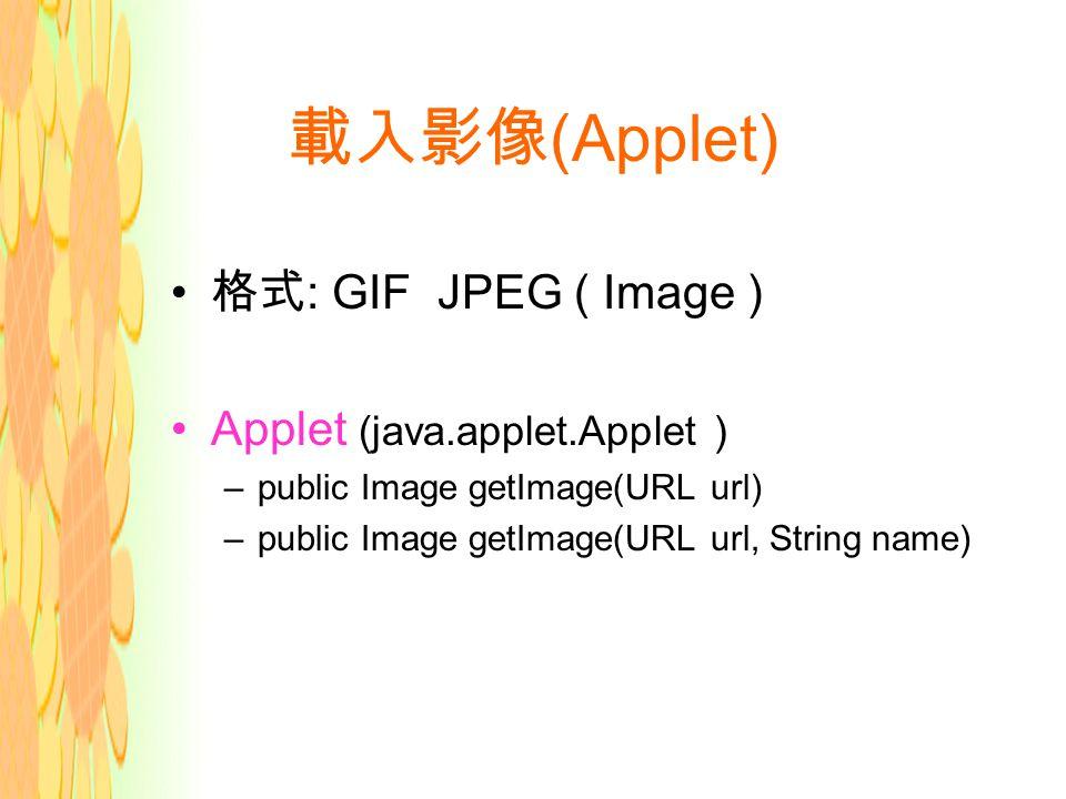 載入影像 (Applet) 格式 : GIF JPEG ( Image ) Applet (java.applet.Applet ) –public Image getImage(URL url) –public Image getImage(URL url, String name)