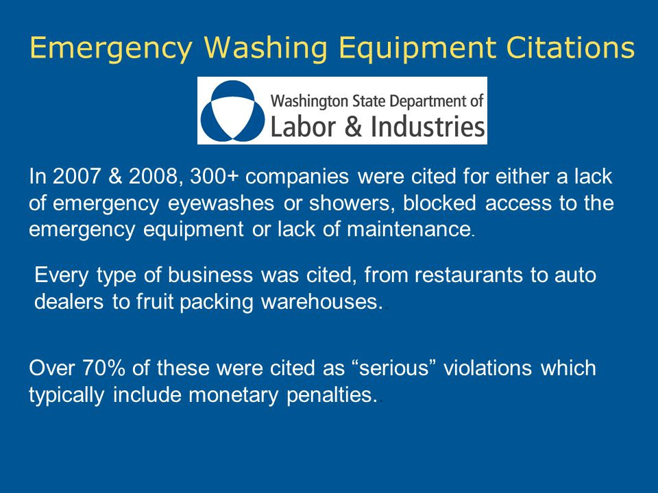 Emergency Washing Equipment Citations In 2007 & 2008, 300+ companies were cited for either a lack of emergency eyewashes or showers, blocked access to