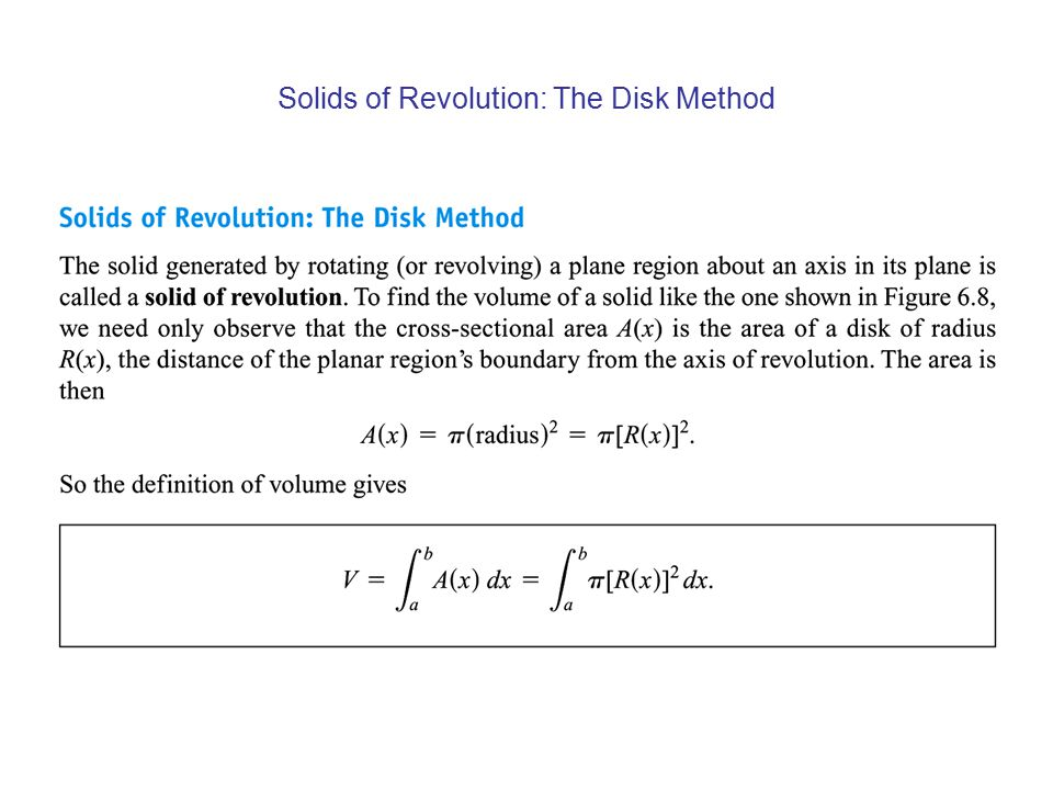 Solids of Revolution: The Disk Method
