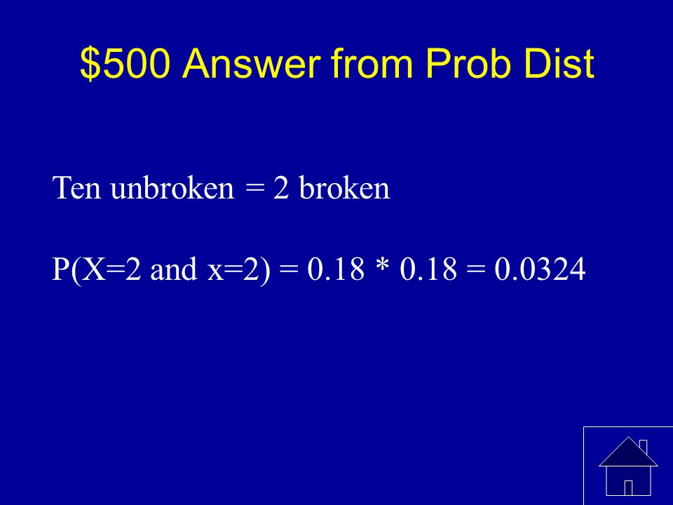$500 Question from Prob Dist The distribution above represents the number of broken eggs in a carton. What is the probability that I randomly choose t
