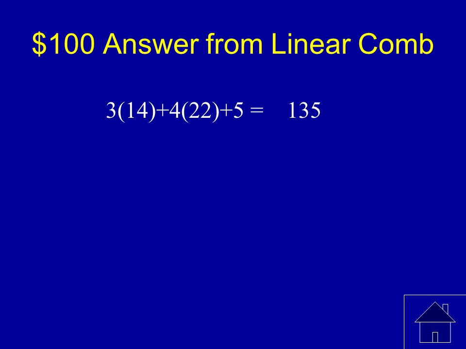 $100 Question from Linear Comb Find: MeanSt. Dev A143 B224