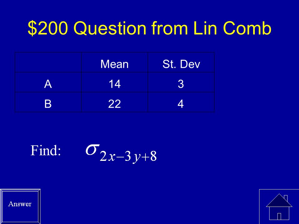 $100 Answer from Linear Comb 3(14)+4(22)+5 = 135