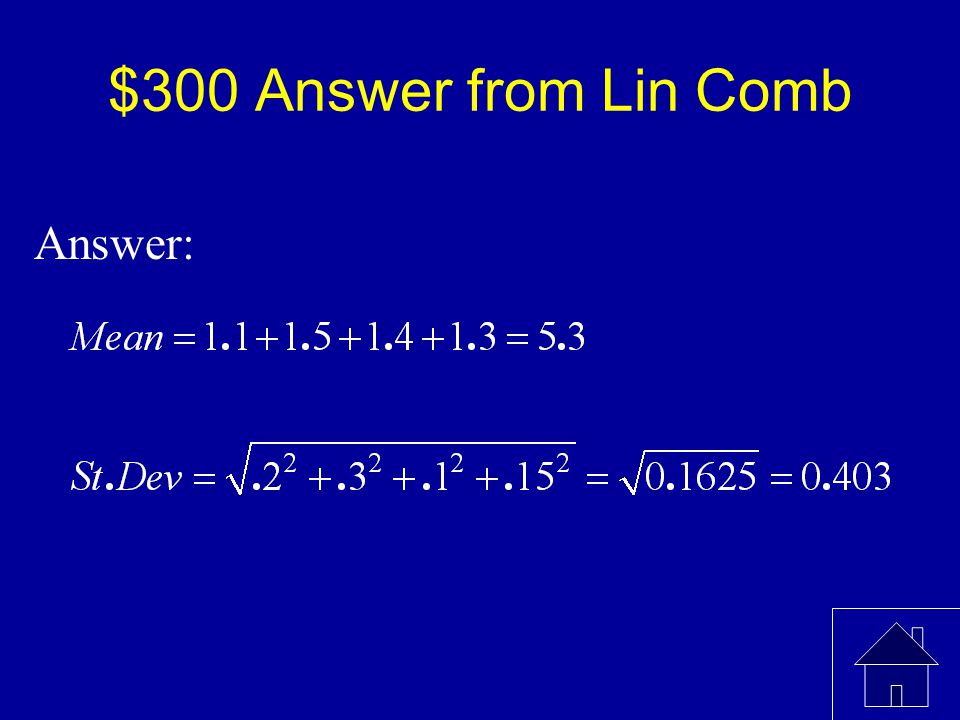$300 Question from Lin Comb The following are the mean times and standard deviations for the runners on a relay race team.