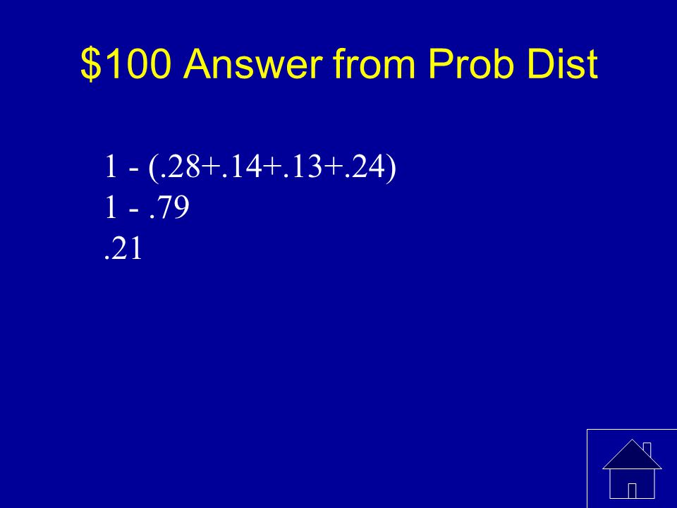 $100 Question from Prob. Dist What is the probability when x=3 x01234 P(x)0.280.140.13 0.24
