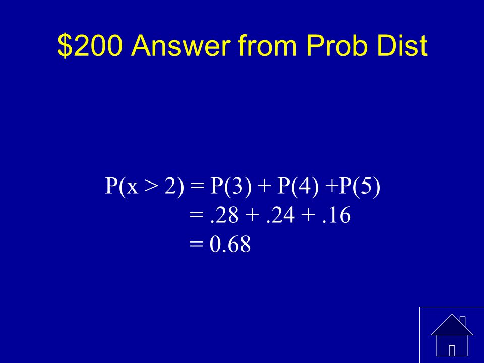 $200 Question from Prob Dist What is the P(x > 2) x012345 P(x)0.040.060.220.280.240.16