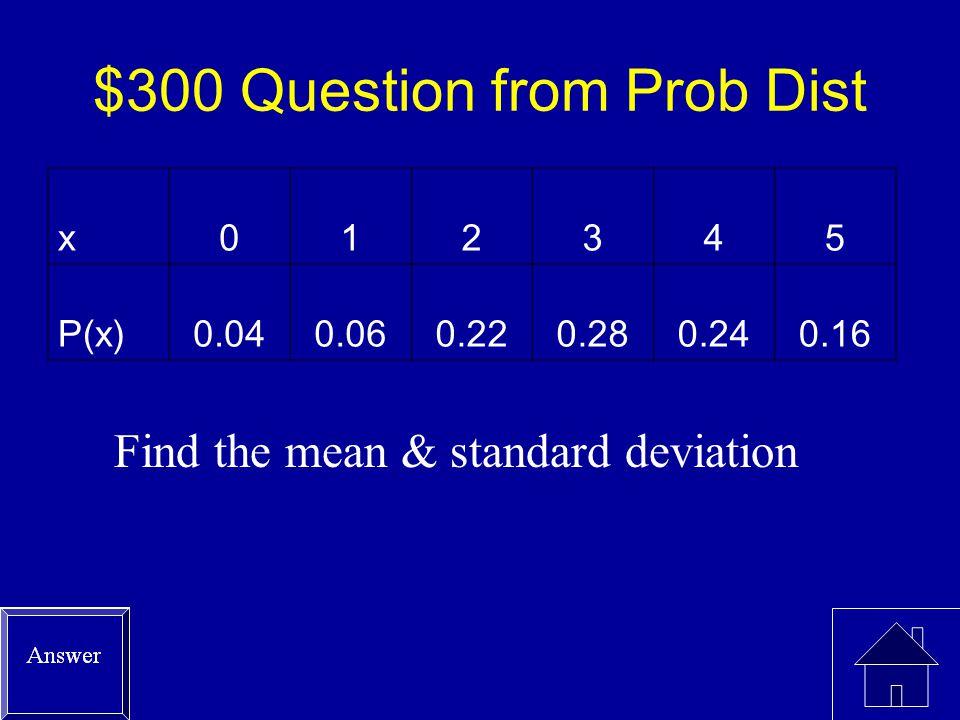 $200 Answer from Prob Dist P(x > 2) = P(3) + P(4) +P(5) =.28 +.24 +.16 = 0.68