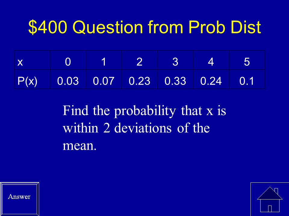 $300 Answer from Prob Dist