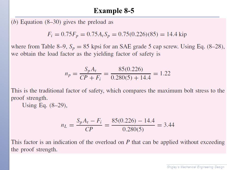 Example 8-5 Shigley's Mechanical Engineering Design