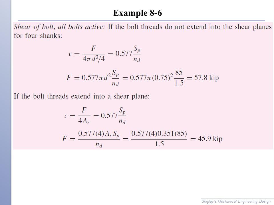 Example 8-6 Shigley's Mechanical Engineering Design