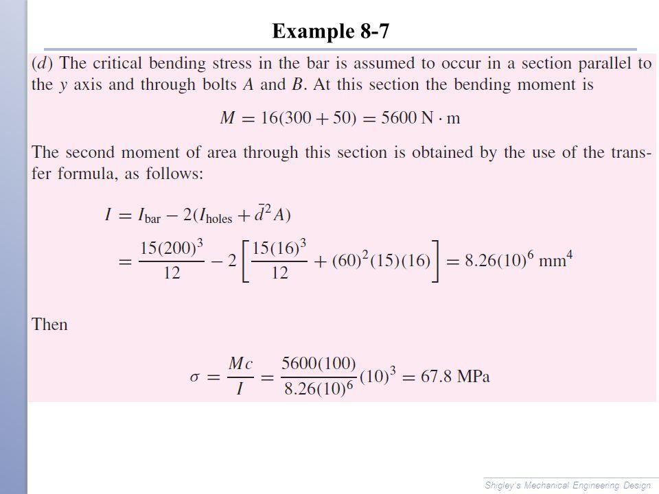Example 8-7 Shigley's Mechanical Engineering Design