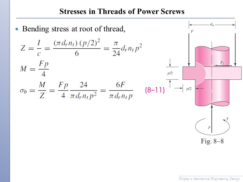 Stresses in Threads of Power Screws Bending stress at root of thread, Shigley's Mechanical Engineering Design Fig. 8–8