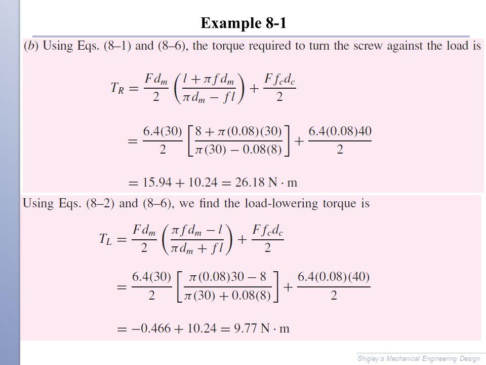 Example 8-1 Shigley's Mechanical Engineering Design