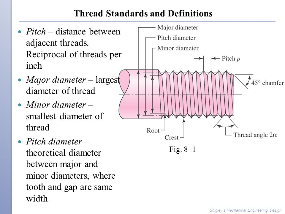 Standardization Shigley's Mechanical Engineering Design The American National (Unified) thread standard defines basic thread geometry for uniformity and interchangeability American National (Unified) thread UNnormal thread UNR greater root radius for fatigue applications Metric thread M series (normal thread) MJ series (greater root radius)