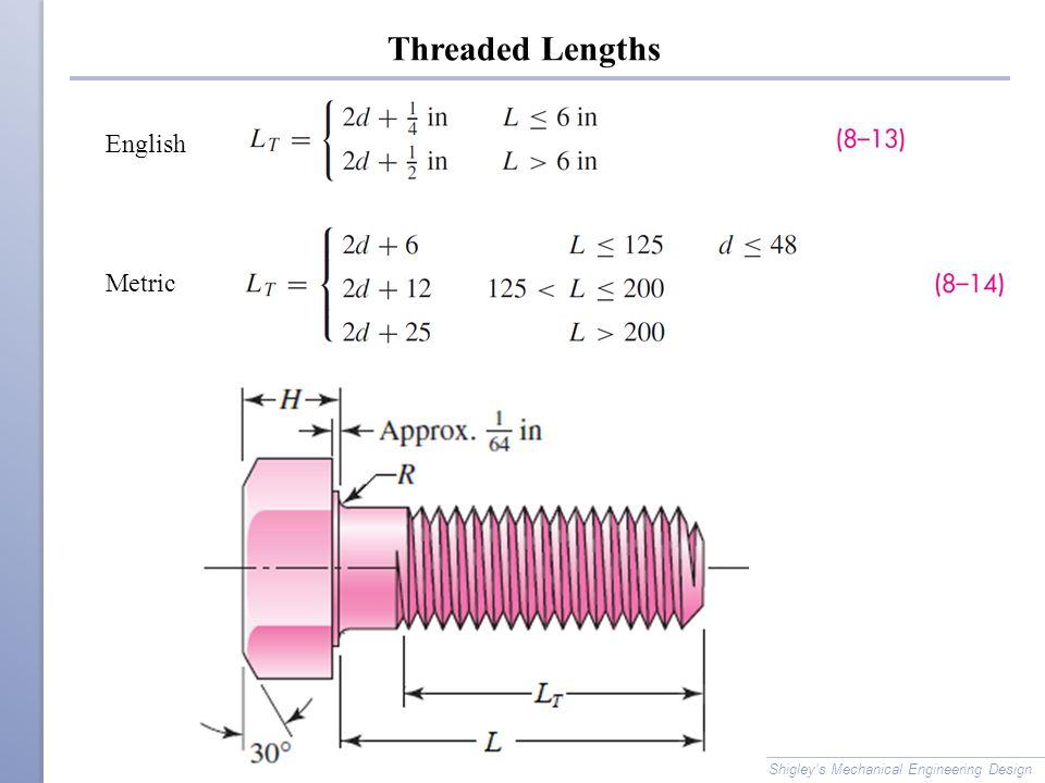 Threaded Lengths Shigley's Mechanical Engineering Design Metric English