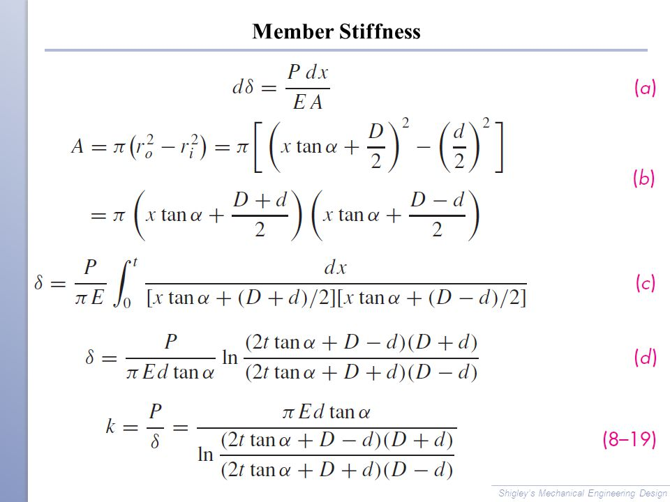 Member Stiffness Shigley's Mechanical Engineering Design