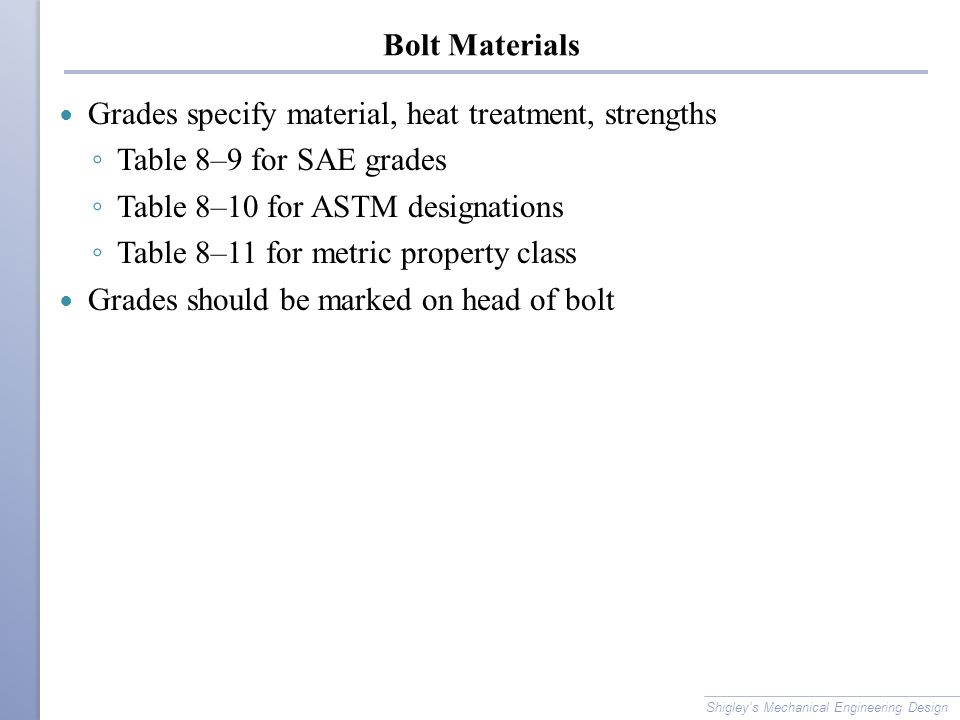 Bolt Materials Grades specify material, heat treatment, strengths ◦ Table 8–9 for SAE grades ◦ Table 8–10 for ASTM designations ◦ Table 8–11 for metri