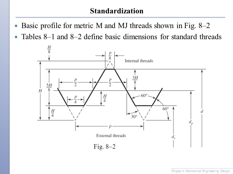ASTM Specification for Steel Bolts Shigley's Mechanical Engineering Design Table 8–10