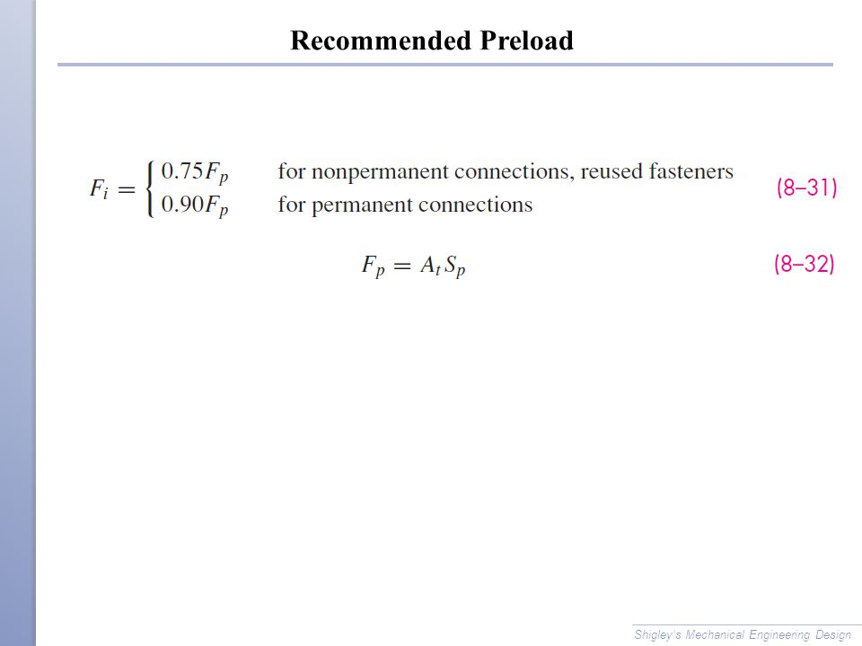 Recommended Preload Shigley's Mechanical Engineering Design