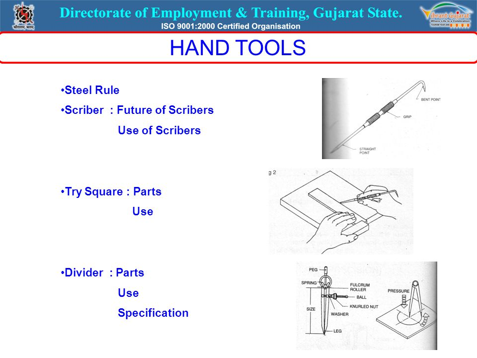 Steel Rule Scriber : Future of Scribers Use of Scribers Try Square : Parts Use Divider : Parts Use Specification HAND TOOLS