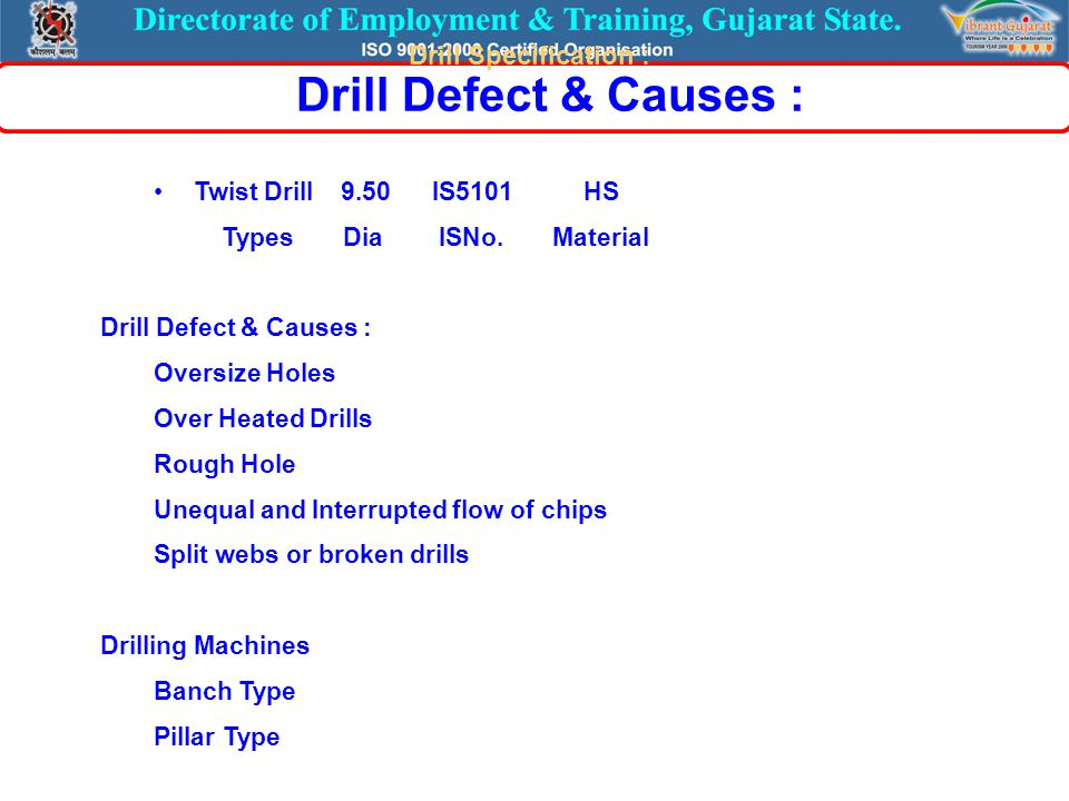 Twist Drill 9.50 IS5101 HS Types Dia ISNo. Material Drill Defect & Causes : Oversize Holes Over Heated Drills Rough Hole Unequal and Interrupted flow