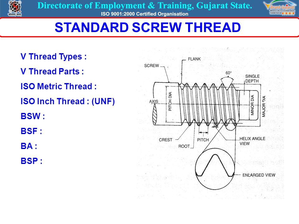 V Thread Types : V Thread Parts : ISO Metric Thread : ISO Inch Thread : (UNF) BSW : BSF : BA : BSP : STANDARD SCREW THREAD