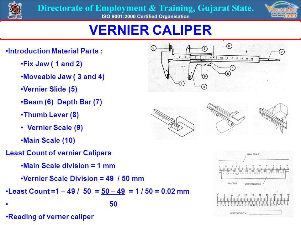 Use Function of each parts : PARTS : (1) Base (2) Beam (3) Vernier Slide (4) Fine adjusting screw (5) Main scale (6) Lock nut (7) Scriber VERNIER HEIGHT GUAGE