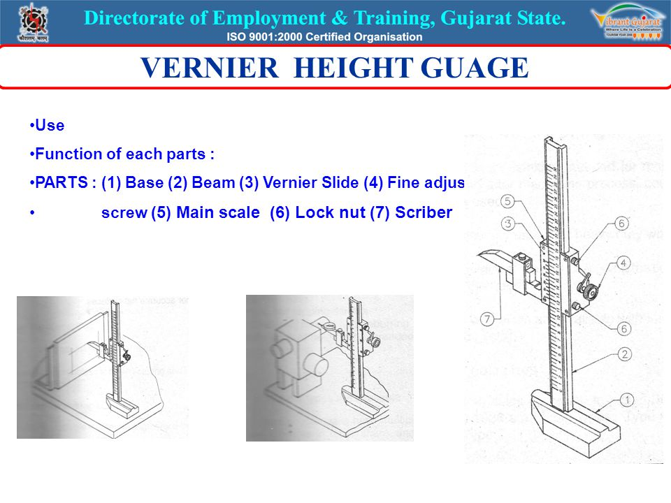 Use Function of each parts : PARTS : (1) Base (2) Beam (3) Vernier Slide (4) Fine adjusting screw (5) Main scale (6) Lock nut (7) Scriber VERNIER HEIGHT GUAGE