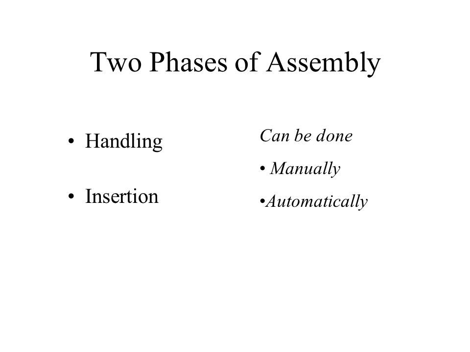 Two Phases of Assembly Handling Insertion Can be done Manually Automatically