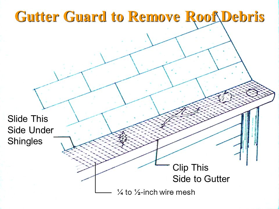 Gutter Guard to Remove Roof Debris ¼ to ½-inch wire mesh Slide This Side Under Shingles Clip This Side to Gutter
