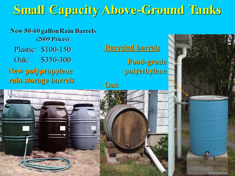 Small Capacity Above-Ground Tanks New polypropylene rain storage barrels Recycled barrels Food-grade polyethylene Oak New 50-60 gallon Rain Barrels (2009 Prices) (2009 Prices) Plastic: $100-150 Plastic: $100-150 Oak: $350-300 Oak: $350-300