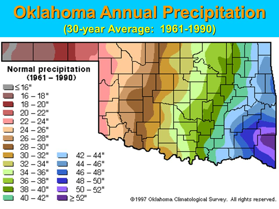 Oklahoma Annual Precipitation (30-year Average: 1961-1990)