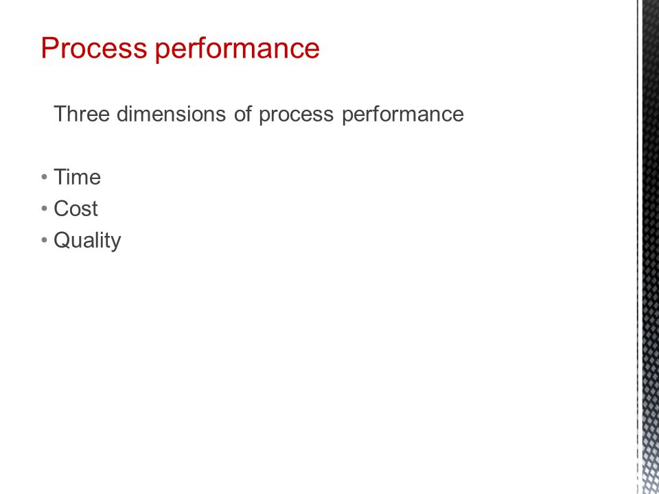 Process performance Three dimensions of process performance Time Cost Quality