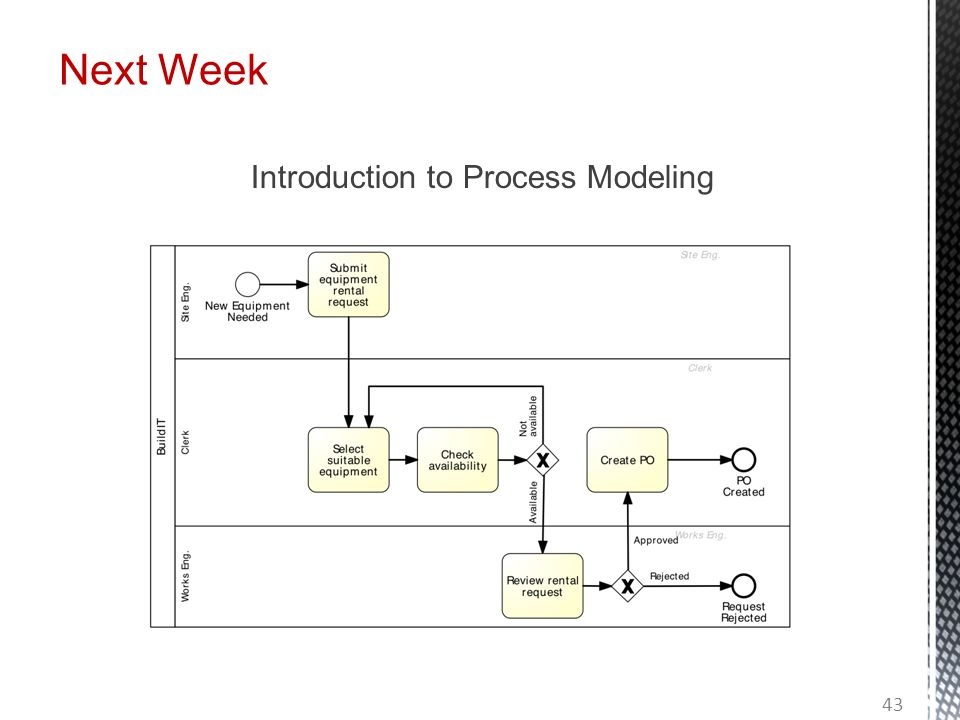 Next Week Introduction to Process Modeling 43