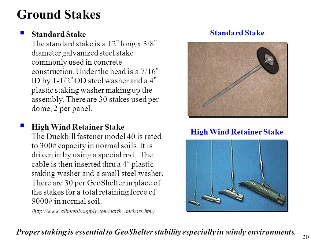 """20 Ground Stakes  Standard Stake The standard stake is a 12 """" long x 3/8 """" diameter galvanized steel stake commonly used in concrete construction. Un"""