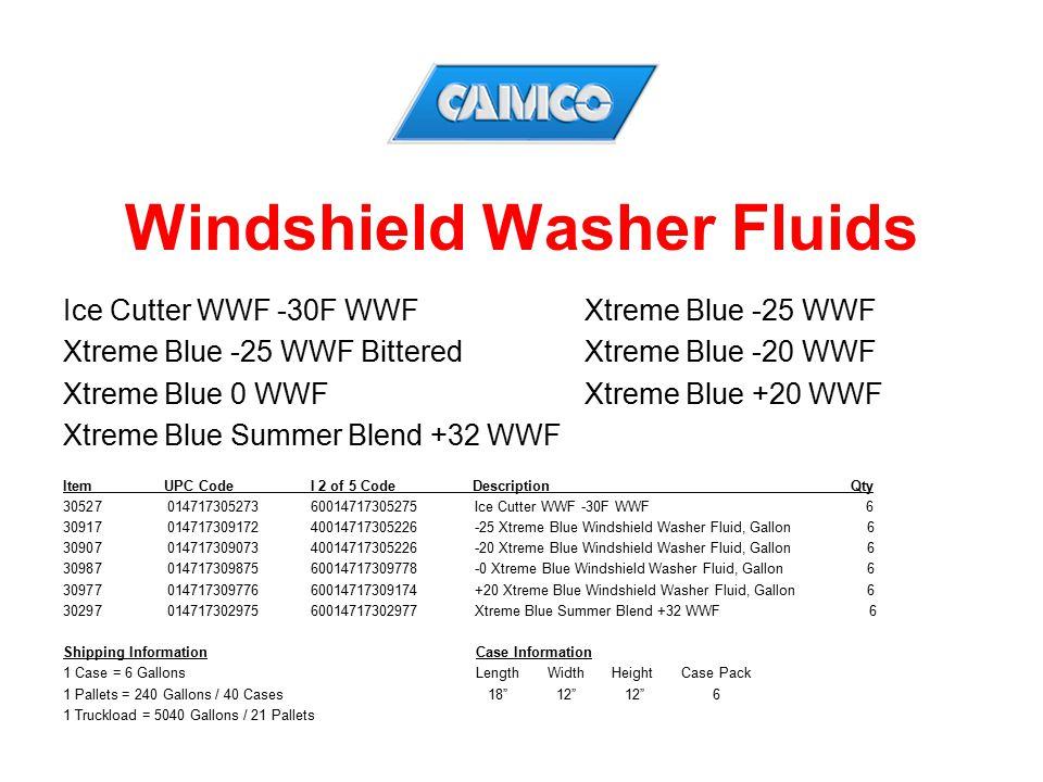 Windshield Washer Fluids Ice Cutter WWF -30F WWFXtreme Blue -25 WWF Xtreme Blue -25 WWF BitteredXtreme Blue -20 WWF Xtreme Blue 0 WWFXtreme Blue +20 W